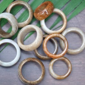Shop Jade Rings! Genuine Burma Tan Brown White Multicolor Jade Rings Thick Band Jadeite Ring 10-13mm thick | Natural genuine Jade rings, simple unique handcrafted gemstone rings. #rings #jewelry #shopping #gift #handmade #fashion #style #affiliate #ad