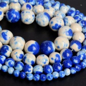 Shop Jade Round Beads! Blue Rain Flower Jade Loose Beads Round Shape 6mm 8mm 10mm | Natural genuine round Jade beads for beading and jewelry making.  #jewelry #beads #beadedjewelry #diyjewelry #jewelrymaking #beadstore #beading #affiliate #ad