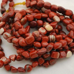 "Shop Jasper Chip & Nugget Beads! High Quality Grade A Natural Red Jasper Semi-precious Gemstone Pebble Tumbled Stone Nugget Beads Approx 7mm-10mm – 15"" Strand 