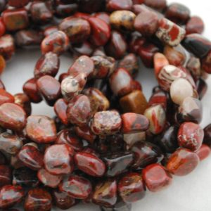"Shop Jasper Chip & Nugget Beads! High Quality Grade A Natural Poppy Jasper Semi-precious Gemstone Pebble Tumbled stone Nugget Beads approx 7mm-10mm – 15"" strand 