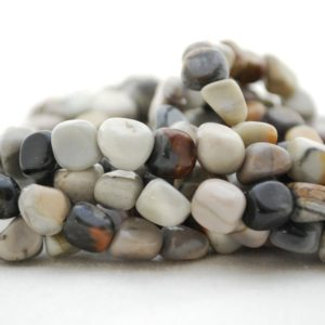 "Shop Jasper Chip & Nugget Beads! High Quality Grade A Natural Picasso Jasper Semi-precious Gemstone Pebble Tumbled Stone Nugget Beads Approx 7mm-10mm – 15"" Strand 