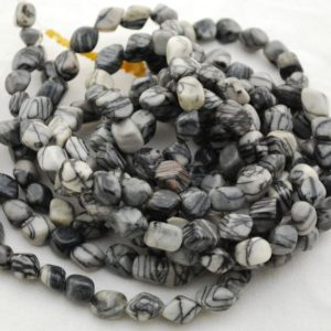 "Shop Jasper Chip & Nugget Beads! High Quality Grade A Natural Black Veined Jasper Semi-precious Gemstone Pebble Tumbled stone Nugget Beads – approx 7mm-10mm – 15"" strand 