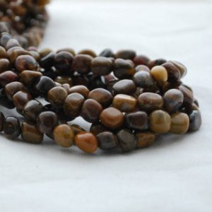 "Shop Jasper Chip & Nugget Beads! High Quality Grade A Natural Rainbow Wood Jasper Semi-precious Gemstone Tumbled Stone Nugget Pebble Beads – Approx 5mm – 8mm – 15.5"" Strand 