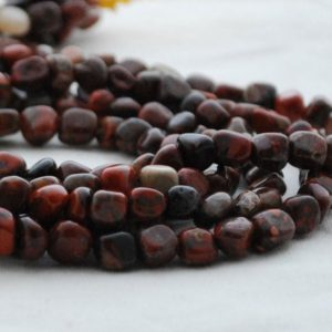 "Shop Jasper Chip & Nugget Beads! High Quality Grade A Natural Poppy Jasper Semi-precious Gemstone Tumbled Stone Nugget Pebble Beads – Approx 5mm – 8mm – 15.5"" Strand 