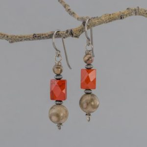 Shop Jasper Earrings! Gray and Red Jasper Stone Earrings in Oxidized Sterling Silver, Nickel-Free Niobium Earrings with Natural Stones | Natural genuine Jasper earrings. Buy crystal jewelry, handmade handcrafted artisan jewelry for women.  Unique handmade gift ideas. #jewelry #beadedearrings #beadedjewelry #gift #shopping #handmadejewelry #fashion #style #product #earrings #affiliate #ad