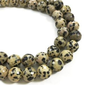 Shop Jasper Faceted Beads! 10mm Faceted Dalmation Jasper Beads, Round Gemstone Beads | Natural genuine faceted Jasper beads for beading and jewelry making.  #jewelry #beads #beadedjewelry #diyjewelry #jewelrymaking #beadstore #beading #affiliate #ad