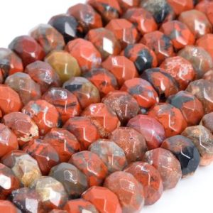 Shop Jasper Faceted Beads! Genuine Natural Red Breccia Jasper Loose Beads Grade AAA Faceted Rondelle Shape 6x4mm 8x5mm | Natural genuine faceted Jasper beads for beading and jewelry making.  #jewelry #beads #beadedjewelry #diyjewelry #jewelrymaking #beadstore #beading #affiliate #ad