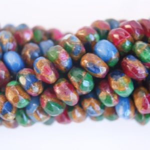 Shop Jasper Faceted Beads! Mixed Jasper Faceted Rondelle Shaped Gemstone Bead-8mmx4mm-15.5 inch strand-1 strand/3 strands | Natural genuine faceted Jasper beads for beading and jewelry making.  #jewelry #beads #beadedjewelry #diyjewelry #jewelrymaking #beadstore #beading #affiliate #ad