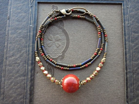 Rustic Red Jasper Necklace, Bohemian Style Brick Red Sphere And Gold Brass Beaded Jewelry For Everyday Wear