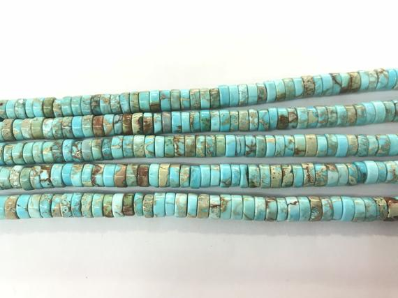 Imperial Jasper 4mm - 8mm Heishi Sea Sediment Jasper Turquoise Blue Dyed Loose Beads 15 Inch Jewelry Supply Bracelet Necklace Material