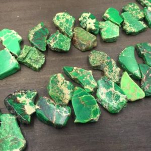 "Shop Jasper Bead Shapes! Imperial Sea Sediment Jasper Free Form Green Jasper Slice beads Slab Beads Top Drilled Gemstone Slices Wholesale bulk 15.5"" full strand 