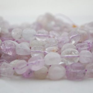 "Shop Kunzite Beads! High Quality Grade A Natural Clear Kunzite Semi-precious Gemstone Pebble Tumbled stone Nugget Beads – approx 7mm-10mm – 15"" long 