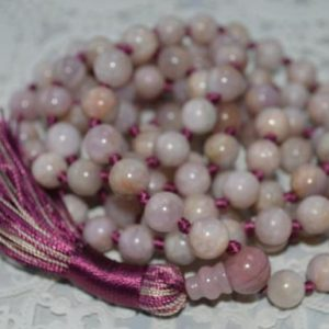 New Beginnings Knotted Lilac Kunzite Mala Necklace, Mala Beads, Mala Necklace, Kunzite Mala Prayer Beads Knotted Mala, Yoga Gift For Her | Natural genuine Kunzite necklaces. Buy crystal jewelry, handmade handcrafted artisan jewelry for women.  Unique handmade gift ideas. #jewelry #beadednecklaces #beadedjewelry #gift #shopping #handmadejewelry #fashion #style #product #necklaces #affiliate #ad