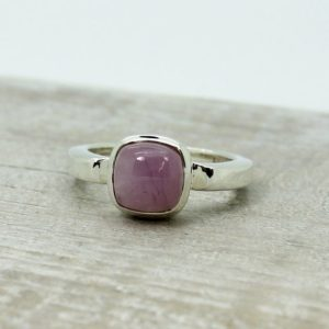 Shop Kunzite Rings! Small Kunzite ring all natural cabochon square pink Kunzite ring on sterling silver bezel amazing quality jewelry and natural Kunzite stone | Natural genuine Kunzite rings, simple unique handcrafted gemstone rings. #rings #jewelry #shopping #gift #handmade #fashion #style #affiliate #ad