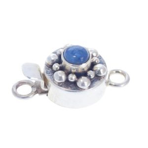 Shop Clasps for Making Jewelry! Kyanite Clasp Sterling Round Dot Design 4mm New World Gems | Shop jewelry making and beading supplies, tools & findings for DIY jewelry making and crafts. #jewelrymaking #diyjewelry #jewelrycrafts #jewelrysupplies #beading #affiliate #ad