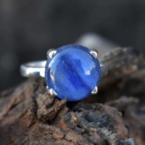 Shop Kyanite Rings! Perfect Women's Gift Ring,Natural Blue Kyanite Ring,Solid 925 Sterling Silver Ring,Handmade Prong Set Ring,Kyanite Ring,July Birthstone Gift | Natural genuine Kyanite rings, simple unique handcrafted gemstone rings. #rings #jewelry #shopping #gift #handmade #fashion #style #affiliate #ad
