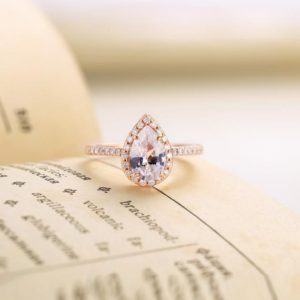 Lab White Sapphire engagement ring rose gold | Pear shaped ring women|Vintage Halo Half eternity Moissanite Jewelry| Prong set promise ring | Natural genuine Array rings, simple unique alternative gemstone engagement rings. #rings #jewelry #bridal #wedding #jewelryaccessories #engagementrings #weddingideas #affiliate #ad