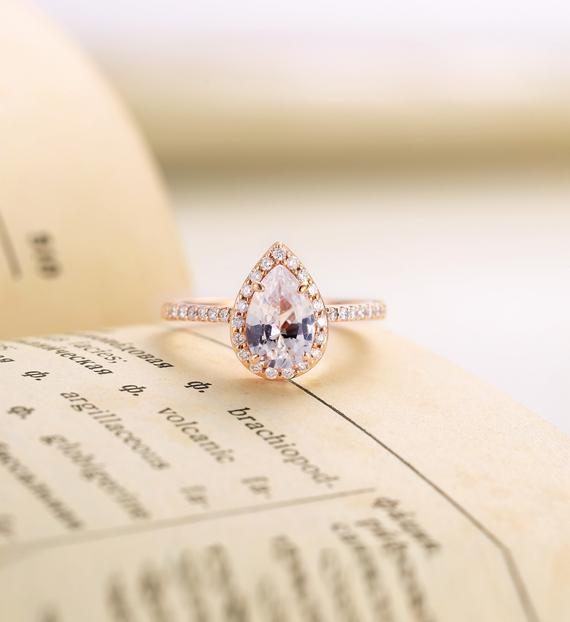 Lab White Sapphire Engagement Ring Rose Gold | Pear Shaped Ring Women|vintage Halo Half Eternity Moissanite Jewelry| Prong Set Promise Ring