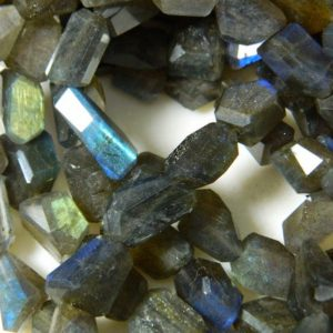 Shop Labradorite Chip & Nugget Beads! Labradorite Gemstones, AAA Labradorite, Step Cut Tumbles, Faceted Nugget Beads, 10-8mm Each, 8 Inch Half Strand, SKU-A44 | Natural genuine chip Labradorite beads for beading and jewelry making.  #jewelry #beads #beadedjewelry #diyjewelry #jewelrymaking #beadstore #beading #affiliate #ad