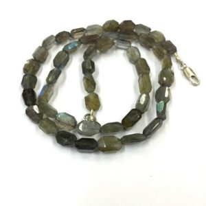 """Shop Labradorite Chip & Nugget Beads! Natural Gemstone Faceted Labradorite Nugget Beads 7mm Tumble Shape Gemstone Beads 18"""" Strand 