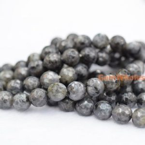 "15"" Larvikite 6mm/8mm/10mm/12mm round faceted beads, Black Labradorite round beads, black gemstone, semi-precious stone, 