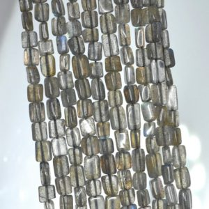 Shop Labradorite Bead Shapes! 5×4-7x5mm Grey Labradorite Gemstone Grade Aaa Rectangle Tube Loose Beads 13 Inch Full Strand (90184972-898) | Natural genuine other-shape Labradorite beads for beading and jewelry making.  #jewelry #beads #beadedjewelry #diyjewelry #jewelrymaking #beadstore #beading #affiliate #ad