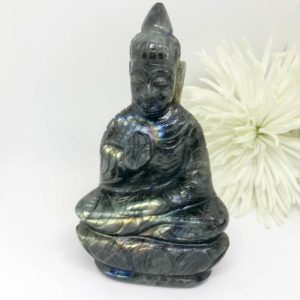 Shop Labradorite Shapes! Labradorite Buddha Carving – The Stone for Protection and Intuition | Natural genuine stones & crystals in various shapes & sizes. Buy raw cut, tumbled, or polished gemstones for making jewelry or crystal healing energy vibration raising reiki stones. #crystals #gemstones #crystalhealing #crystalsandgemstones #energyhealing #affiliate #ad