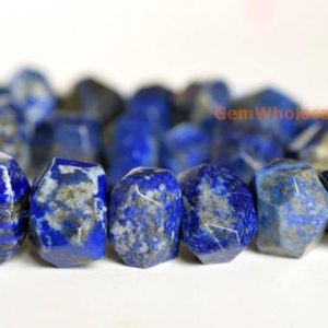 "15.5"" Natural Lapis Lazuli 15~20mm faceted nugget, high quality blue color gemstone nugget beads 