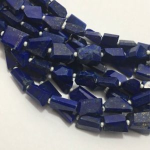 Shop Lapis Lazuli Chip & Nugget Beads! Natural Lapis Lazuli Faceted Laser Tumble/Nuggets Beads, 8mm to 13mm, 14 inches, Blue Beads, Gemstone Beads, Semiprecious Stone Beads | Natural genuine chip Lapis Lazuli beads for beading and jewelry making.  #jewelry #beads #beadedjewelry #diyjewelry #jewelrymaking #beadstore #beading #affiliate #ad