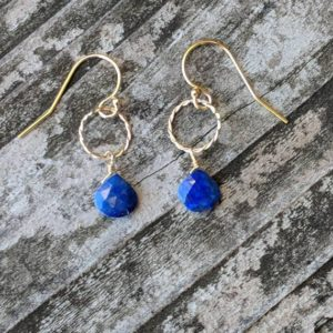 Shop Lapis Lazuli Earrings! Sweet and dainty lapis earrings. Gold filled or Sterling silver avail. Lapis earrings | Natural genuine Lapis Lazuli earrings. Buy crystal jewelry, handmade handcrafted artisan jewelry for women.  Unique handmade gift ideas. #jewelry #beadedearrings #beadedjewelry #gift #shopping #handmadejewelry #fashion #style #product #earrings #affiliate #ad