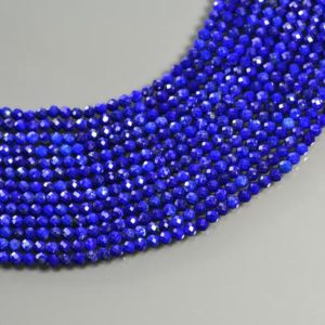 "Shop Lapis Lazuli Faceted Beads! 3mm Natural Faceted Blue Lapis Lazuli AAA Quality Round Beads 15"" Strand 