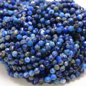 Shop Lapis Lazuli Faceted Beads! 5MM Lapis Lazuli Gemstone Grade A Micro Faceted Round Beads 15 inch Full Strand BULK LOT 1,2,6,12 and 50(80006529-A205) | Natural genuine faceted Lapis Lazuli beads for beading and jewelry making.  #jewelry #beads #beadedjewelry #diyjewelry #jewelrymaking #beadstore #beading #affiliate #ad