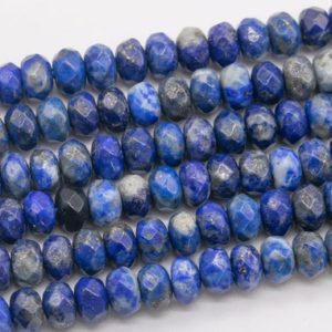 Shop Lapis Lazuli Faceted Beads! Genuine Natural Blue Lapis Lazuli Loose Beads Grade AAA Faceted Rondelle Shape 6x4MM | Natural genuine faceted Lapis Lazuli beads for beading and jewelry making.  #jewelry #beads #beadedjewelry #diyjewelry #jewelrymaking #beadstore #beading #affiliate #ad