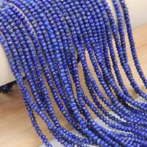 Shop Lapis Lazuli Faceted Beads! Natural Lapis Lazuli Faceted Rondelle Beads,2x3mm/2.5x4mm Semi Precious Stone,High Quality Jewelry Bead,Loose Strand Wholesale Gemstone Bead | Natural genuine faceted Lapis Lazuli beads for beading and jewelry making.  #jewelry #beads #beadedjewelry #diyjewelry #jewelrymaking #beadstore #beading #affiliate #ad