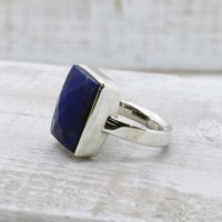 Unisex Gorgeous Lapis Ring Faceted Cut Stone Rectangle Shape Cab Stunning Blue Color With Sparkles Of Silver Natural Stone 925 Sterling | Natural genuine Gemstone jewelry. Buy crystal jewelry, handmade handcrafted artisan jewelry for women.  Unique handmade gift ideas. #jewelry #beadedjewelry #beadedjewelry #gift #shopping #handmadejewelry #fashion #style #product #jewelry #affiliate #ad