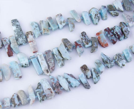 Large Raw Larimar Nugget Slice Slab Beads, Rough Gemstones, Semi-precious, Natural Beads, Top Drilled, Priced Per Strand, Lar04