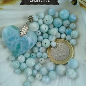 Shop Larimar Round Beads! LARIMAR 6mm+ AA & 8mm+ A bead set, smooth round bead in real semi precious natural stone | Natural genuine round Larimar beads for beading and jewelry making.  #jewelry #beads #beadedjewelry #diyjewelry #jewelrymaking #beadstore #beading #affiliate #ad