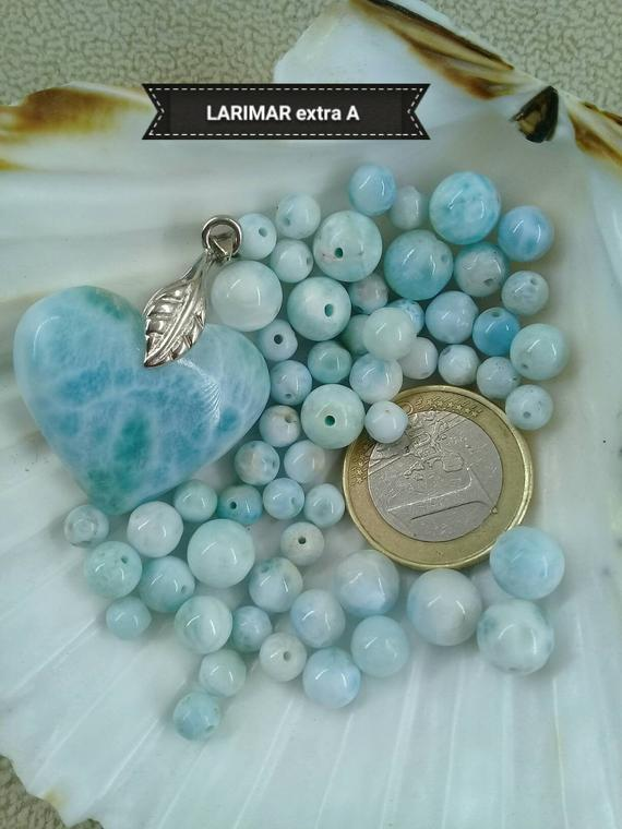 Larimar A Bead Set, Smooth Round Bead In Real Semi Precious Natural Stone, 5.5mm 8mm +/-