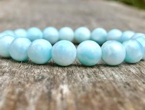 Shop Larimar Bracelets! Natural Dominican Larimar Beaded Bracelet  8mm Larimar Gemstone Bracelet Milky Light Blue & White Bracelet Enlightenment Bracelet | Natural genuine Larimar bracelets. Buy crystal jewelry, handmade handcrafted artisan jewelry for women.  Unique handmade gift ideas. #jewelry #beadedbracelets #beadedjewelry #gift #shopping #handmadejewelry #fashion #style #product #bracelets #affiliate #ad