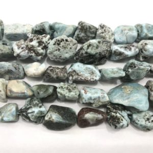 Shop Larimar Chip & Nugget Beads! Natural Blue Larimar 18-30mm Raw Nugget Genuine Gemstone Freeshape Beads 15 inch Jewelry Supply Bracelet Necklace Material Support Wholesale | Natural genuine chip Larimar beads for beading and jewelry making.  #jewelry #beads #beadedjewelry #diyjewelry #jewelrymaking #beadstore #beading #affiliate #ad