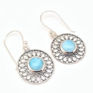 Shop Larimar Earrings! Larimar Earrings // Sterling Silver // Filigree Setting // Larimar Jewelry | Natural genuine Larimar earrings. Buy crystal jewelry, handmade handcrafted artisan jewelry for women.  Unique handmade gift ideas. #jewelry #beadedearrings #beadedjewelry #gift #shopping #handmadejewelry #fashion #style #product #earrings #affiliate #ad
