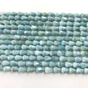 Shop Larimar Bead Shapes! Faceted Blue Larimar 5x7mm waterdrop Grade AA Loose Gemstone Teardrop Beads 15 inch Jewelry Supply Bracelet Necklace Material Wholesale | Natural genuine other-shape Larimar beads for beading and jewelry making.  #jewelry #beads #beadedjewelry #diyjewelry #jewelrymaking #beadstore #beading #affiliate #ad
