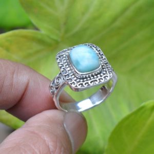 Shop Larimar Rings! Natural Larimar Ring, 925 Silver Rings, Gemstone Ring, 8×10 mm Cushion Larimar Ring, Gemstone Silver Rings, Larimar Silver Ring For Women | Natural genuine Larimar rings, simple unique handcrafted gemstone rings. #rings #jewelry #shopping #gift #handmade #fashion #style #affiliate #ad