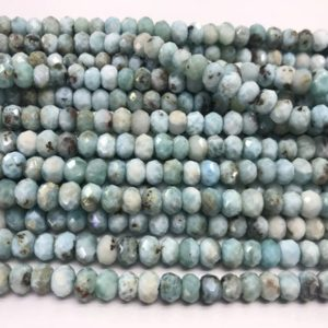 Shop Larimar Rondelle Beads! Genuine Faceted Larimar 3mm – 10mm Rondelle Cut Natural Grade A Loose Blue Beads 15 inch Jewelry Supply Bracelet Necklace Material Support | Natural genuine rondelle Larimar beads for beading and jewelry making.  #jewelry #beads #beadedjewelry #diyjewelry #jewelrymaking #beadstore #beading #affiliate #ad