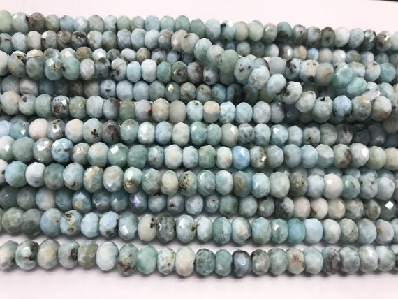 Genuine Faceted Larimar 3mm - 10mm Rondelle Cut Natural Grade A Loose Blue Beads 15 Inch Jewelry Supply Bracelet Necklace Material Support