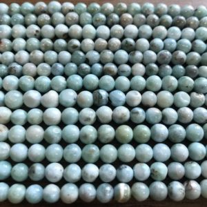 Shop Larimar Round Beads! 100% natural 5mm round Dominican Larimar Gemstone beads Grade AB  -15.5 inch strand-1strand/3 strands | Natural genuine round Larimar beads for beading and jewelry making.  #jewelry #beads #beadedjewelry #diyjewelry #jewelrymaking #beadstore #beading #affiliate #ad