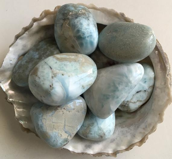 Larimar Stone, Medium Large Tumbled Stone, Healing Stones And Crystals, Radiates Love And Peace And Promotes Tranquility