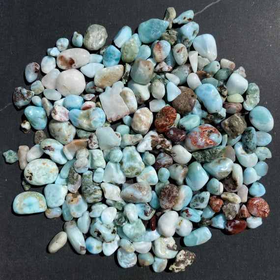 Larimar - Undrilled Loose Tumbled Gemstone Crystal Chips - 50g - 4-12mm - Tiny Small Mini Stones Jewelry Jewellery Cabachon Chip Beads