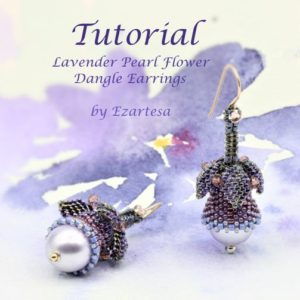 Shop Jewelry Making Tutorials! Lavender Pearl Flower Dangle Earrrings Tutorial, Beading Pattern with Dark Blue, Purple Seed Beads and Swarovski Pearls by Ezartesa | Shop jewelry making and beading supplies, tools & findings for DIY jewelry making and crafts. #jewelrymaking #diyjewelry #jewelrycrafts #jewelrysupplies #beading #affiliate #ad