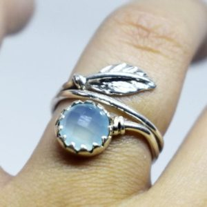 Shop Blue Chalcedony Rings! Leaf Design Ring,Faceted blue Chalcedony Ring ,Solid 925 Sterling Silver Ring, Handmade Jewelry Ring,Aqua Chalcedony Gift Ring,Aqua Ring | Natural genuine Blue Chalcedony rings, simple unique handcrafted gemstone rings. #rings #jewelry #shopping #gift #handmade #fashion #style #affiliate #ad